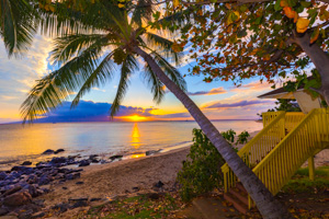 Hawaii beach park sunset by Steve Ibach Photography