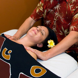 Client receiving relaxation massage in Phoenix, AZ area day spa