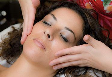 Woman receiving organic facial at Phoenix, AZ day spa