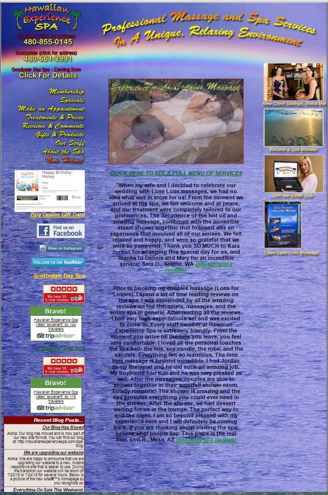 Hawaiian Experience Spa's old website homepage