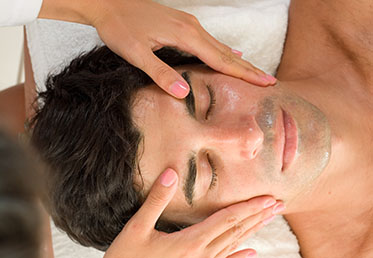 Man getting spa facial in Scottsdale day spa