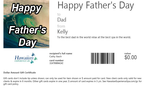 Gift Card for Father's Day at spa