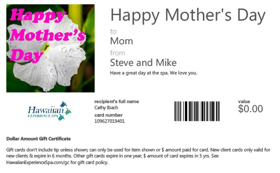 Mother's Day Spa Gift Card