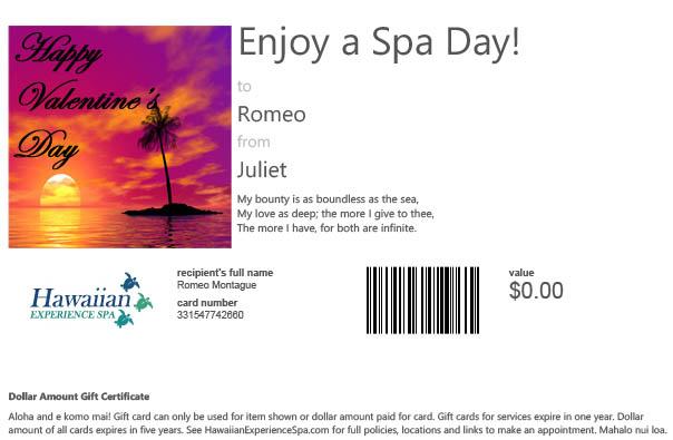 Valentine Gift Card Phoenix Day Spa2
