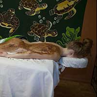 Woman receiving chocolate spa treatment in Phoenix, AZ