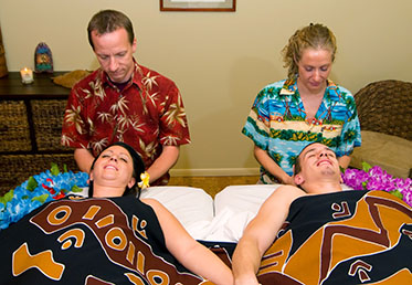 Couples massage side by side in day spa, Goodyear, AZ