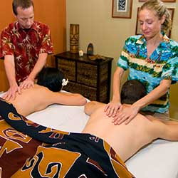 Couple receiving relaxing massage in Phoenix, AZ area day spa