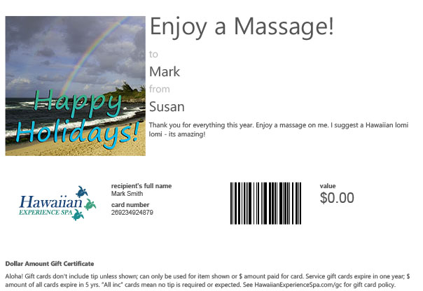 Holiday Gift card to day spa