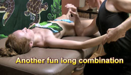 Full body massage run shown on young woman, lomi lomi style