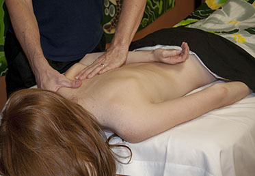 Person getting medical massage therapy